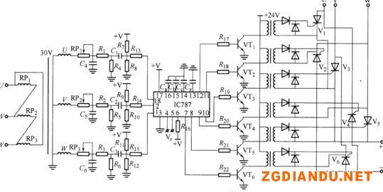 应用TC787组成的三相移相触发电路