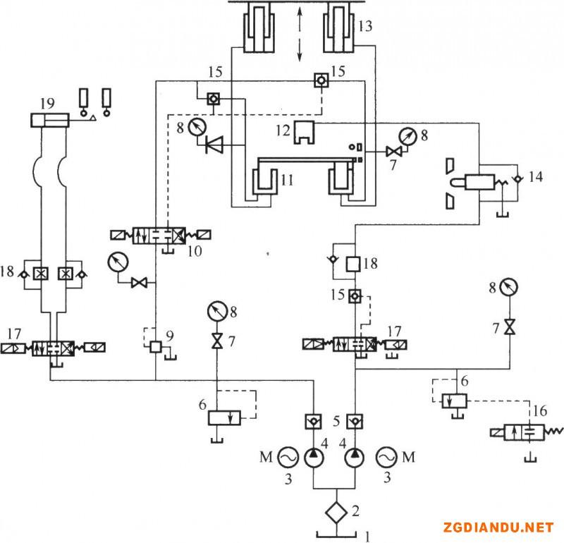环形电镀自动线液压原理