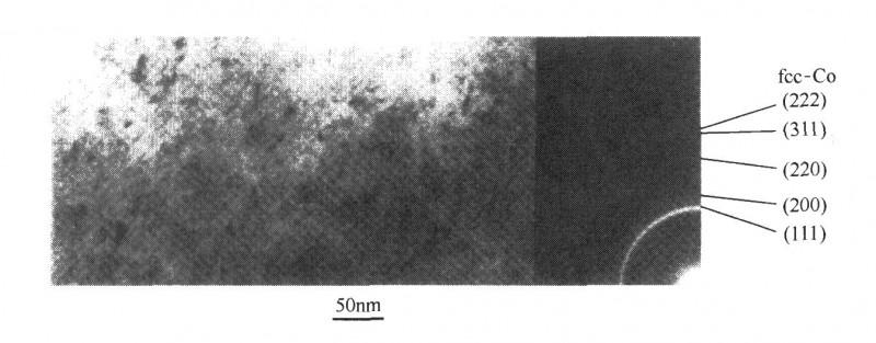 化学镀CoFeB膜层的典型TEM明视场图和THEED图