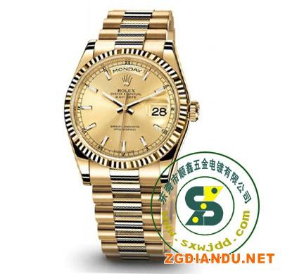 手表带真空电镀双色 间电金色