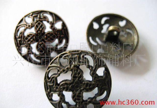 锌合金镂空雕花电镀钮扣,锌合金钮